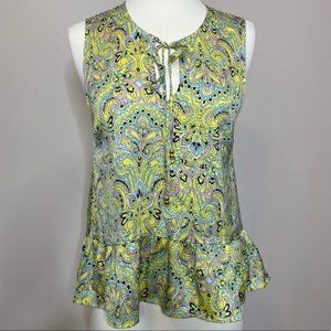 Juicy Couture Paisley Peplum Blouse Tank Size 4